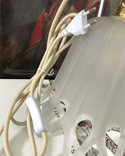 Lampe à poser Art déco en verre poli électrifiée à neuf