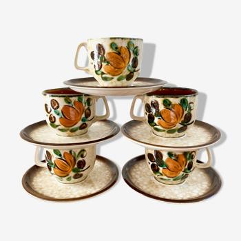 Tasses à café faïence boch la louvière modèle corfou 1960