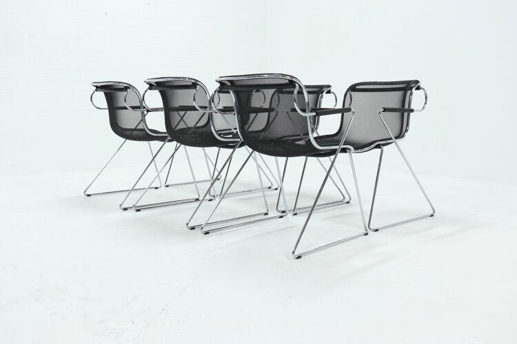 Lot de 6 chaises penelope par Charles Pollock pour Castelli années 1980
