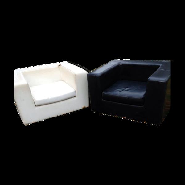Selency Paire de fauteuils Skaï design années 70 Zanotta - Willie Landels