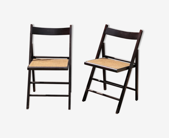 Chaises pliantes canage et bois