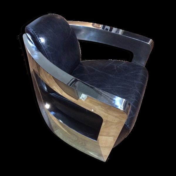 Fauteuil design cuir acier