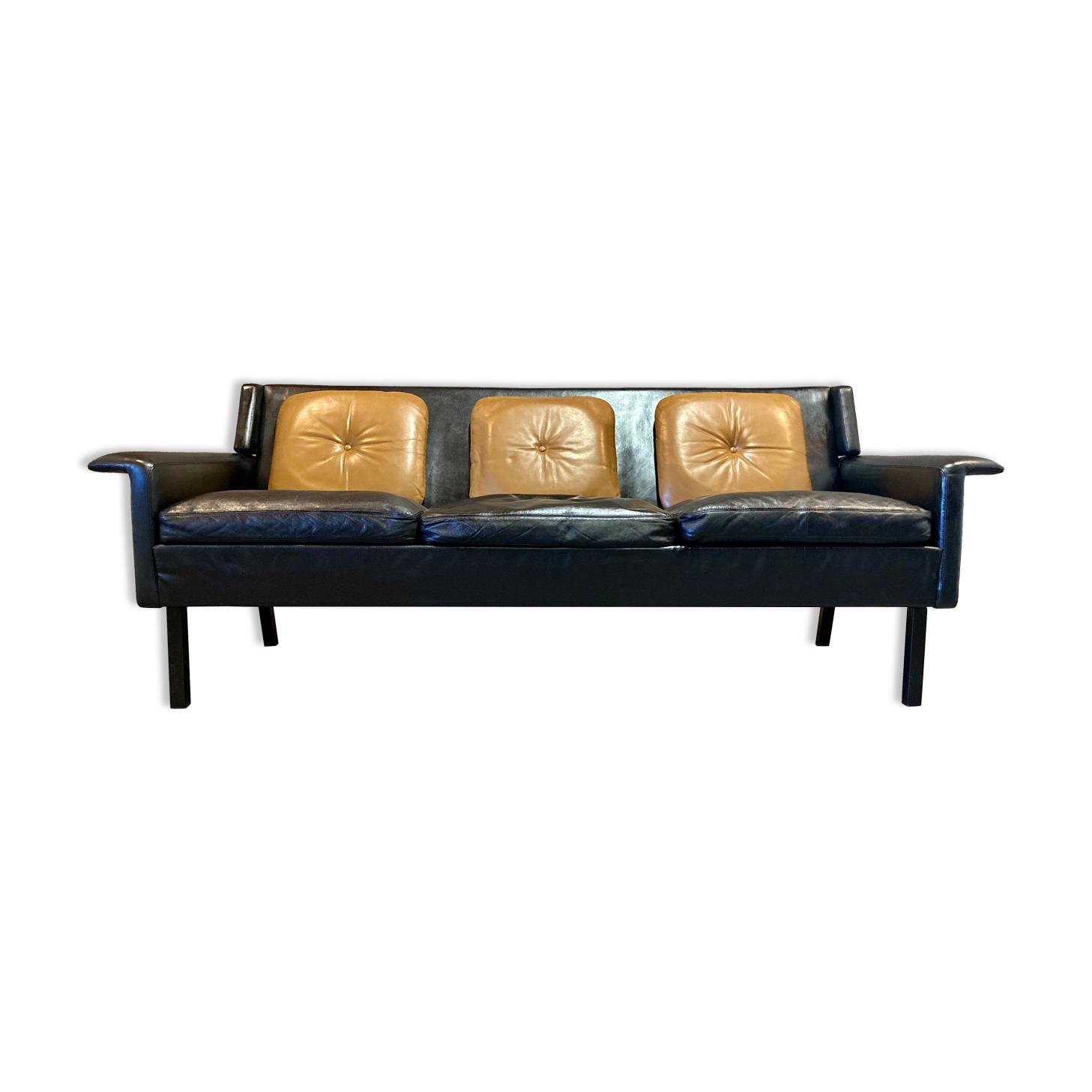 Canapé cuir noir design scandinave 1950