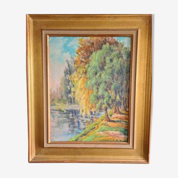 Les arbres sur la berge - huile sur panneau post-impressionniste