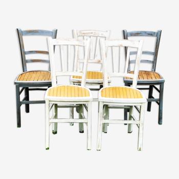 Lot de 5 chaises bistrot en bois années 40 relookées