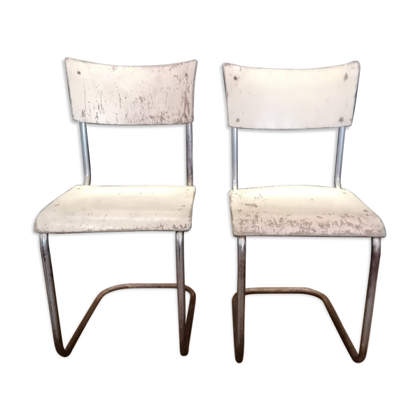 Paire de chaises de Mart Stam, années 60, acier chromé