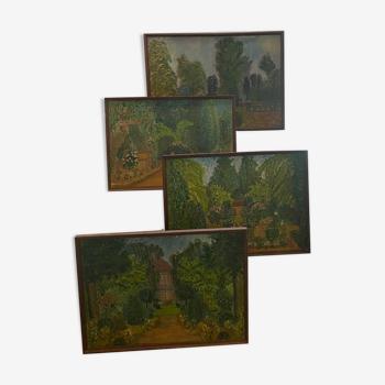 Série de 4 tableaux