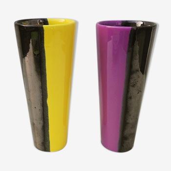 Vases cornets en céramique bicolore vintage 60's
