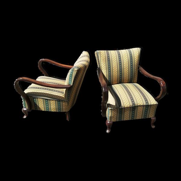 Paire de fauteuils années 50 retapissés