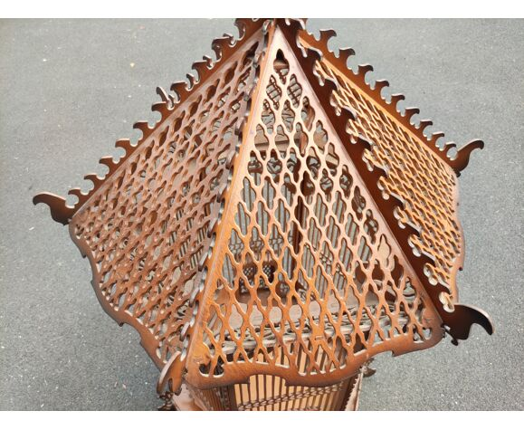 Cage vintage en bois découpé/fait main