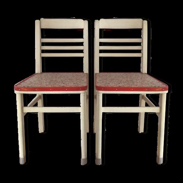 Paire de chaises de cuisine années 50 vintage