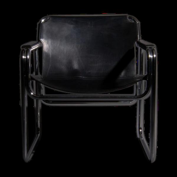 Selency Chaise tubulaire avec assise en cuir et accoudoirs des années 60