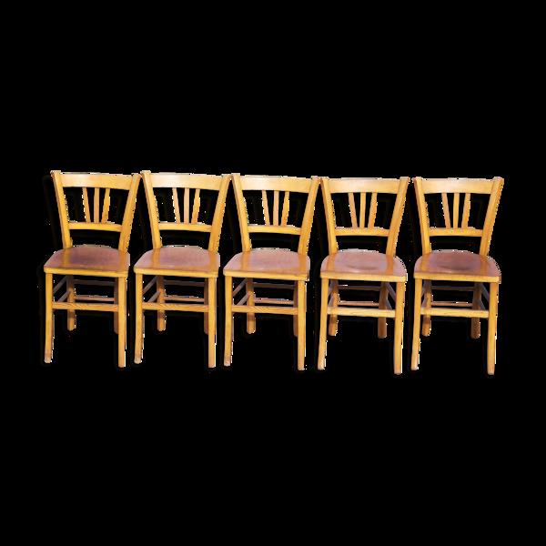 Set de 5 chaises de bistrot bois vintage de marque Luterma