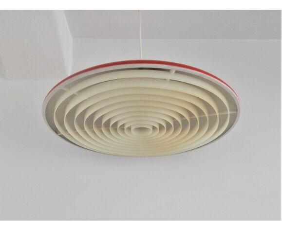 Danish red metal pendant lamp by Preben Fabricius & Jørgen Kastholm for Nordisk Solar, 1960s