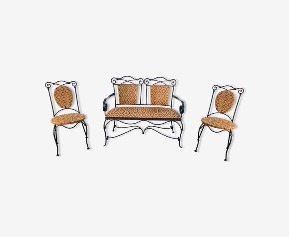 Ensemble canapé fer forgé et osier, chaises & table basse vintage 1980