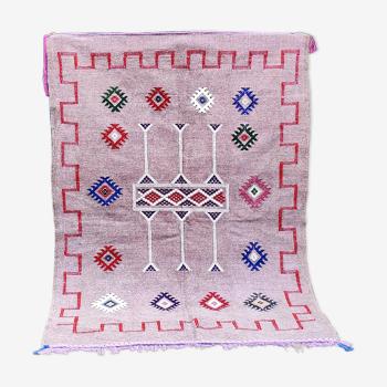 Tapis berbère marocain fait main violet ethnique 96x140 cm