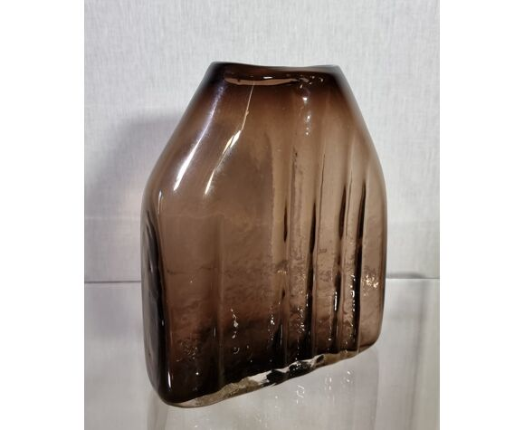 Vase brutaliste en verre Geoffroy Baxter pour Whitefriars, vers 1970