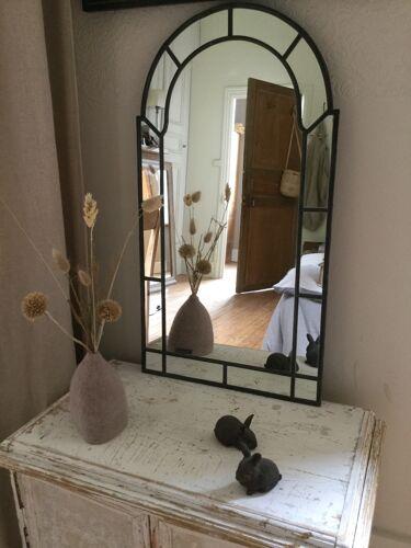 Miroir bois et laiton - 74x40cm