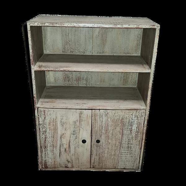 Meuble en bois ancien avec deux étagères et deux tiroirs