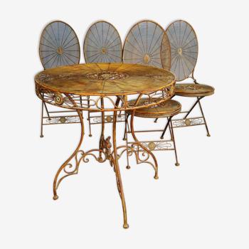 Salon de jardin table et 4 chaises pliantes en fer patiné