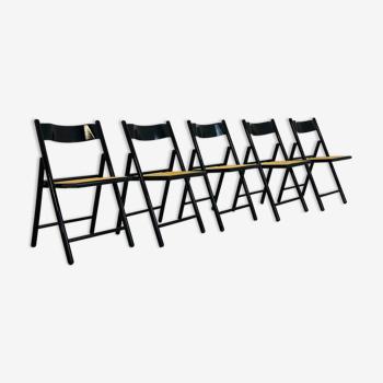 Ensemble de 5 chaises pliantes assise cannée