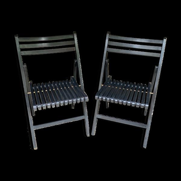 Paire de chaises pliantes noires