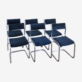 Lot de 6 chaises velours et chrome Roche bobois