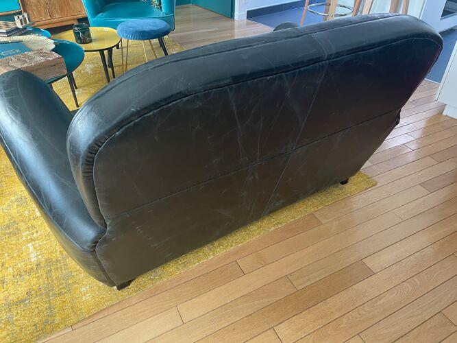 Canapé en cuir noir Oxford Maisons du Monde