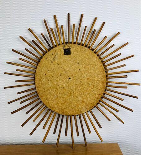 Miroir soleil en rotin - vintage 70