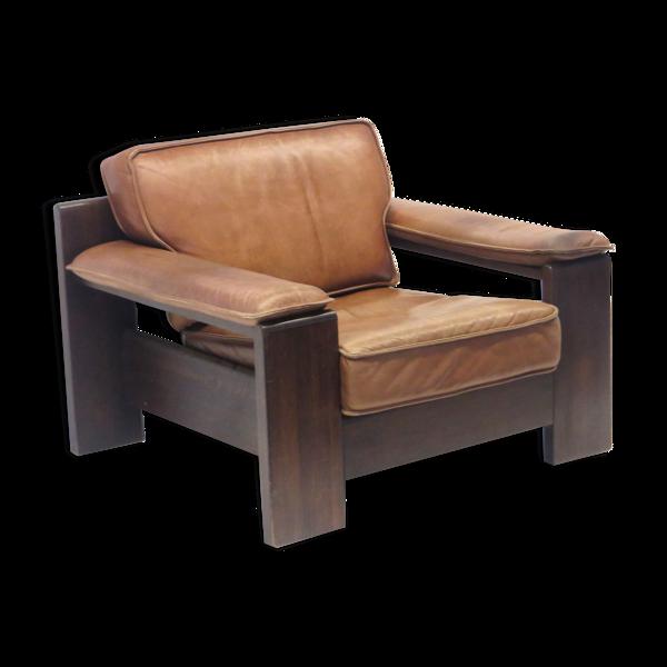 Chaise vintage Leolux en cuir épais couleur cognac par Harry de Groot fabriqué dans les années 60