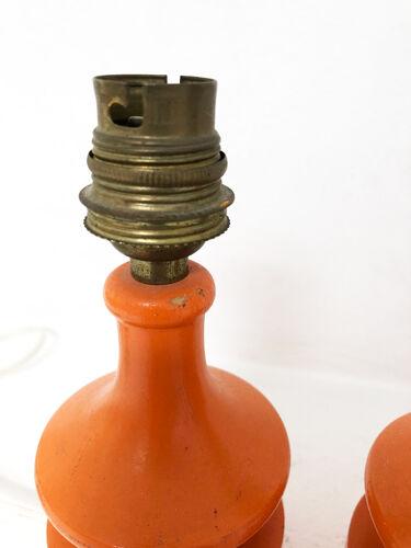 Paire pieds de lampes vintage en bois orange, 1970