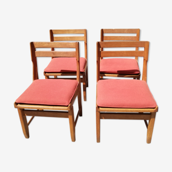Lot de 4 chaises Raphael par Guillerme et Chambron