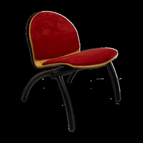 Fauteuil contemporain velours rouge