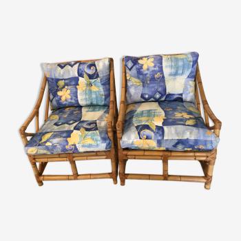 Paire de fauteuil en bambou années 50/60