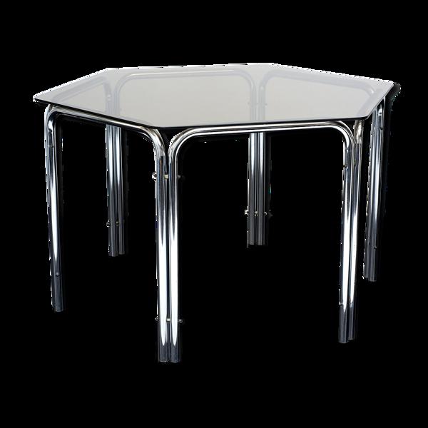 Table hexagonale tubulaire en acier des années 70