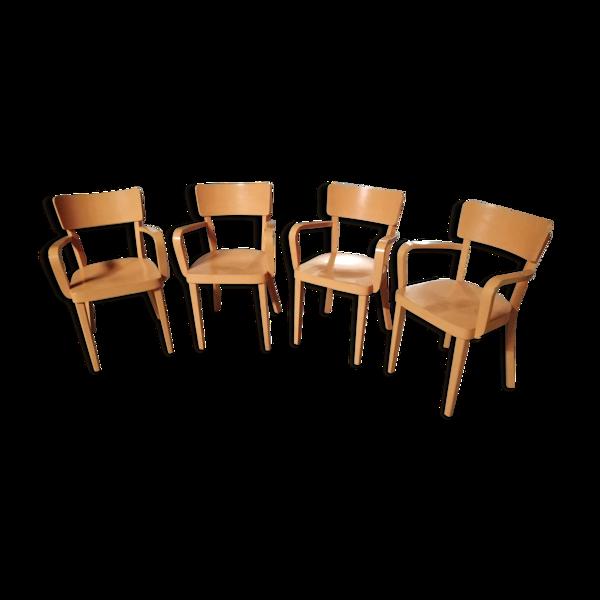 Selency Lot de 4 fauteuils en bois Habitat des années 1990