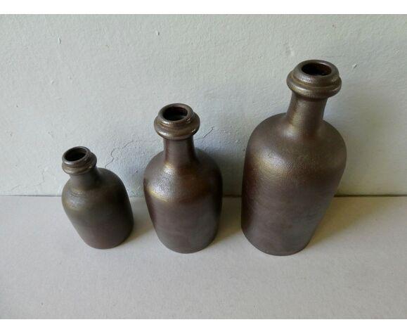 Lot de 3 bouteilles en grès Turgis, années 70