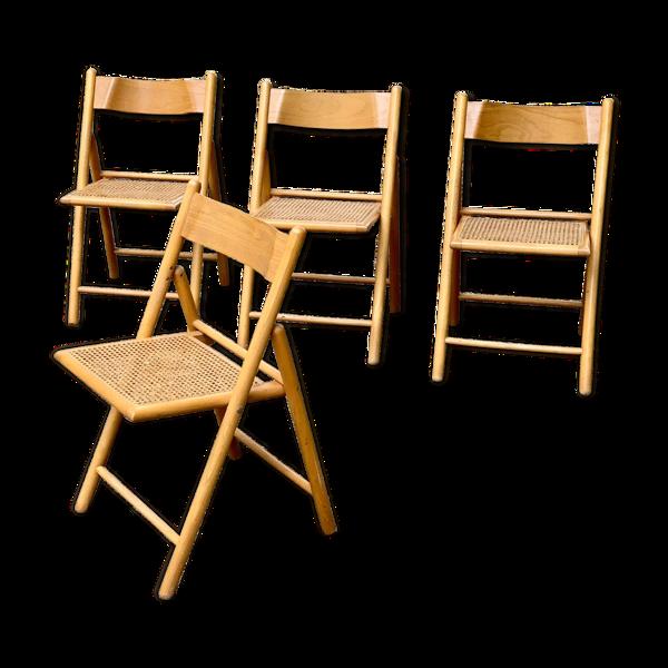 Selency Set de 4 chaises pliantes cannées en bois, années 70