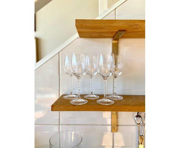5 verres à pied en cristal ciselé épi de blé