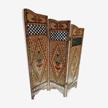 Paravent résersible artisanal unique en bois motifs peints * be