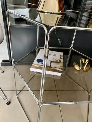 Table d'appoint verre fumé et chrome