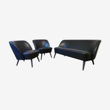 Salon canapé cocktail 2 fauteuils cocktails  chauffeuses cuir noir
