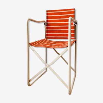 Chaise de jardin pliante en métal et coton orange