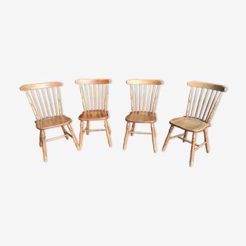 Série de 4 chaises bistrot, western en chêne