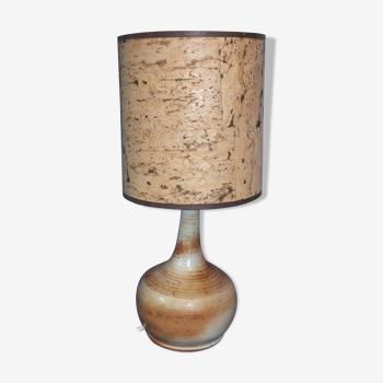 Lampe vintage en grès du Marais et abat jour en liège