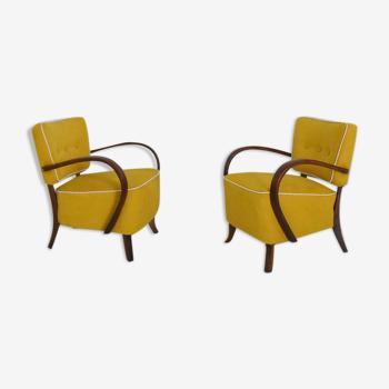 Paire de fauteuils art déco modèle H 237 par Jindrich Halabala