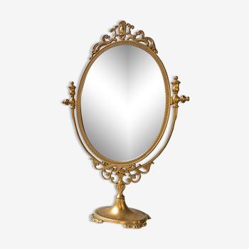 Miroir psyché pivotant sur pied en laiton style louis xv