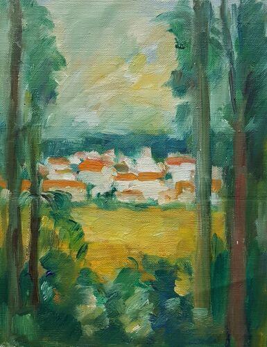 "Peinture de Nagao Usui ""Village derrière les arbres"""