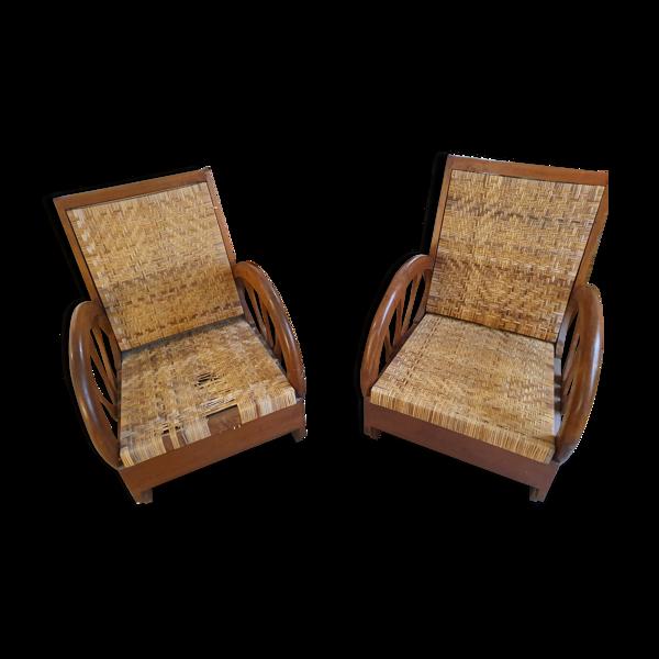 2 fauteuils en acajou
