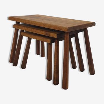 Modernist Oak Nesting Tables, 1960s